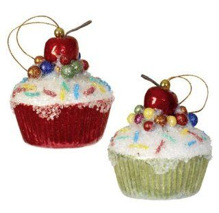 Christmas Tree Cupcake Ornament, with Cherry & Sparkles, Set of 2 Colors Red & Green   Styrofoam Candy Ornaments