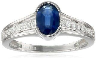 14k White Gold and Oval Blue Sapphire (1 cttw, H I Color, I1 Clarity) Bridal Ring with Diamond Accents Jewelry