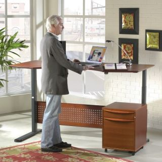 Jesper Sit and Stand Height Adjustable Desk   Cherry   Office