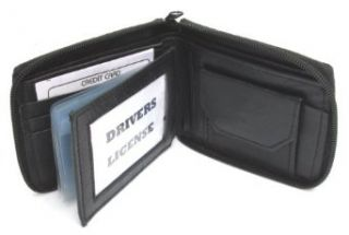 Mens Black Leather Wallet Lamb Zippered Bifold 782 at  Men�s Clothing store