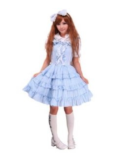 Blue Checked Cotton Bunny Head Hoodie Sweet Lolita Dress (Small) Adult Sized Costumes Clothing