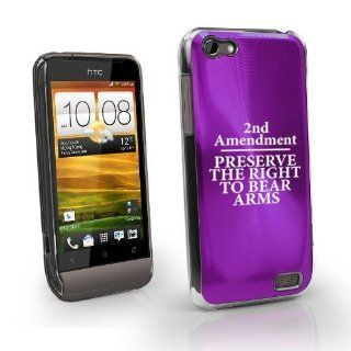 Purple HTC One V Virgin Aluminum Plated Hard Back Case Cover MV07 2nd Amendment Cell Phones & Accessories
