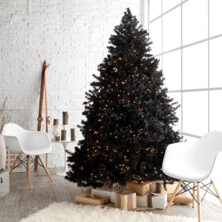 Classic Black Full Pre lit Christmas Tree   7.5 ft.   Clear   Christmas Trees