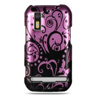VMG Purple Black Floral Flower Design Hard 2 Pc Plastic Snap On Case Cover fo Cell Phones & Accessories