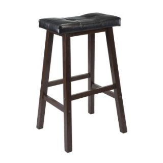 Winsome 29 in. Cushion Saddle Seat Bar Stool with Black Faux Leather   Bar Stools