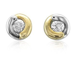 10K Two Tone Gold Diamond Stud Earrings (GH,I1 I2,0.10 carat) Diamond Delight Jewelry