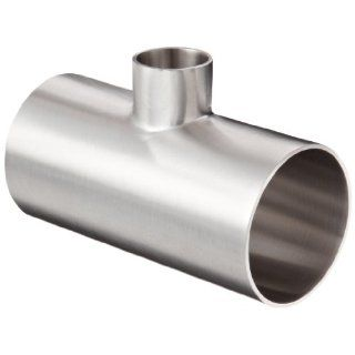 "Dixon B7RWWW G200100P Stainless Steel 304 Polished Fitting, Weld Reducing Tee, 2"" Tube OD x 1"" Tube OD x 2"" Tube OD Sanitary Tube Fittings"