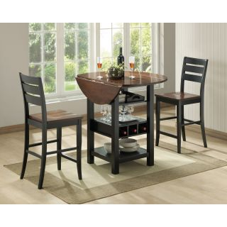 Sunset Trading Quincy 3 Piece Black & Cherry Pub Table Set   Pub Tables