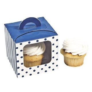 Blue Polka Dot Cupcake Boxes With Handle   Solid Color Party Supplies & Solid Color Favor Containers Food Decorating Tools Kitchen & Dining