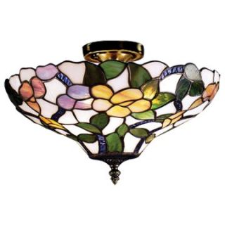 Dale Tiffany Peony Semi Flush Mount Light   Tiffany Ceiling Lighting