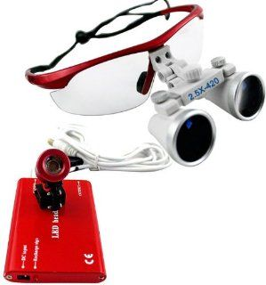 Red 2.5 �420 Dental Surgical Binocular Loupes + Red LED Head Light Lamp Health & Personal Care