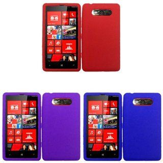 iFase Brand Nokia Lumia 820 Combo Solid Blue Silicon Skin Case Faceplate Cover + Solid Red Silicon Skin Case Faceplate Cover + Solid Purple Silicon Skin Case Faceplate Cover for Nokia Lumia 820 Cell Phones & Accessories