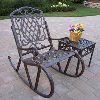 Oakland Living Mississippi Cast Aluminum Rocking Chair Set   Outdoor Rocking Chairs