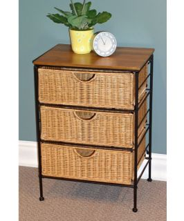4D Concepts 3 Drawer Wicker & Metal Accent Table   Indoor Wicker Furniture