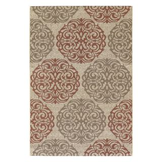 Couristan 3089 1791 Five Seasons Montecito Indoor/Outdoor Area Rug   Cream/Coral Red   Area Rugs
