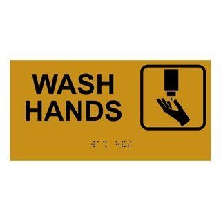 ADA Wash Hands With Symbol Braille Sign RSME 366 SYM BLKonGLD  Business And Store Signs