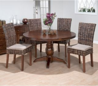Jofran Bar Harbor Round 5 Piece Dining Table Set with Rattan Chairs   Dining Table Sets