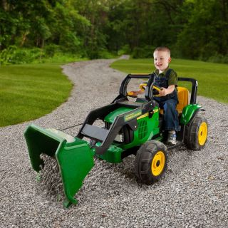 Peg Perego John Deere Power Loader Tractor Battery Powered Riding Toy   Battery Powered Riding Toys