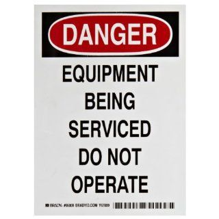 "Brady 66009 7"" Height, 5"" Width, B 811 Flexible Magnetic Vinyl, Black And Red On White Color Magnetic Lockout Danger Sign, Legend ""Danger, Equipment Being Serviced Do Not Operate"" Industrial Lockout Tagout Tags Industrial & Scient"