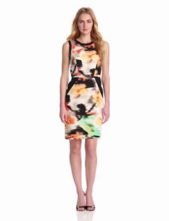 Calvin Klein Women's Colorblock Shift Dress, Key Lime/Bellini Multi, 2