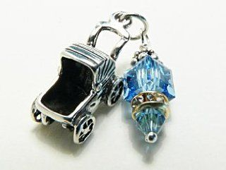 "Sterling Silver Charm Pendant Baby Boy Message Carriage Aquamarine Crystal Cube ""So in the course of time Hannah conceived and gave birth to a son. She named him Samuel, saying, 'Because I asked the LORD for him""  1 Samuel 120 (NIV) Jewelry"