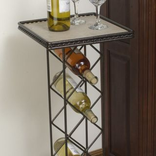 J & J Wire Wine Rack with Tile Table Top   Set of 2   Wine Furniture