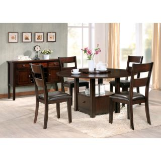 Steve Silver Gibson 5 Piece Drop Leaf Dining Table Set with Ladderback Chairs   Espresso   Dining Table Sets