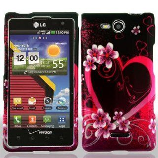 LG Lucid 4G 4 G VS840 VS 840 / Cayman Black with Hot Pink Love Hearts Flowers Design Snap On Hard Protective Cover Case Cell Phone Cell Phones & Accessories