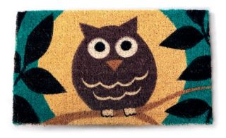 Wise Owl 18 x 30 Hand Woven Coir Doormat   Outdoor Doormats
