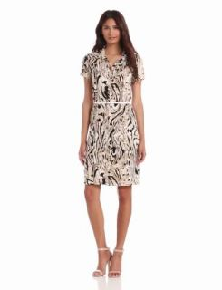Anne Klein Women's Moire Print Dress, Oak Multi, Small