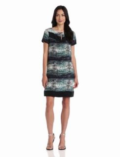 Three Dots Women's Print Cap Sleeve A Line Dress, Laguna Blue, X Large