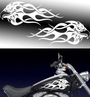 "Motorcycle Flaming Eagle Gas Tank Decals Harley 13""x5."""