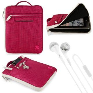 "(Pink) VG Hydei Edition Nylon Sleeve Bag Case for Aluratek AT208F Cinepad 8"" Android Tablet + White VG Brand Stereo Headphones with Windscreen Microphone & Silicone In Ear Tips Electronics"