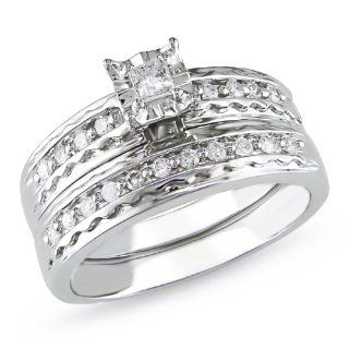 14k White Gold Diamond Wedding Ring Set (0.3 Cttw, G H Color, I1 I2 Clarity) Wedding Ring Sets Jewelry