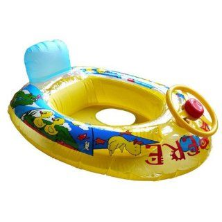 (Yellow) Baby Summer Swim Ring Seat Float Boat Inflatable Swimming Train Water Pool Wheel Toys & Games