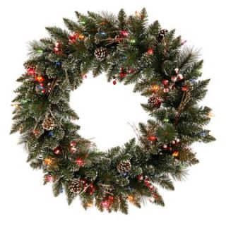 Vickerman 30 in. Pre Lit Snow Tip Pine and Berry Wreath   Clear   Christmas Wreaths