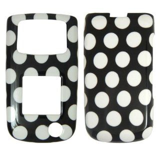 Samsung A847 Rugby 2 AT&T   White Polka Dots on Black Hard Plastic Cover,Case, Face cover, Protector Cell Phones & Accessories