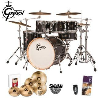 Gretsch New Catalina Maple Transparent Ebony (CMT E825 TE) 5 Piece Euro Kit & Sabian B8 Pro Cymbal Pack   Includes Drum Set Survival Guide, LP201BK P LP Rumba Shaker & Sabian B8 Pro Cymbal Set Musical Instruments