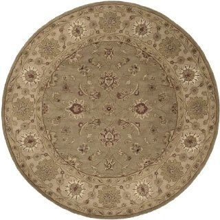 8' Veracruz Light Olive Green and Maroon Hand Tufted Wool Round Area Throw Rug