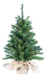 30 in. Pine Pre lit Christmas Tree with Burlap Bag Base   Christmas Trees