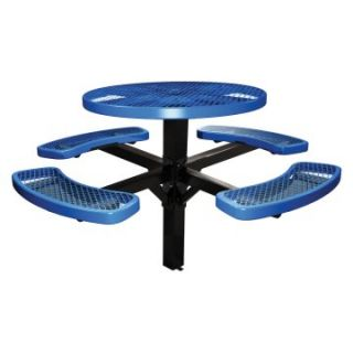 46 in. Single Post Expanded Metal Round Commercial Grade Picnic Table with Attached Benches   Picnic Tables