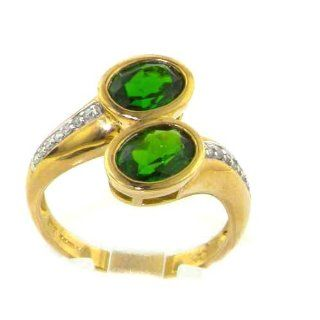 Luxury 9K Yellow Gold Womens Large Russian Diopside & Diamond Ring   Finger Sizes 6 to 9 Available Jewelry