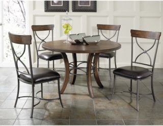 Hillsdale Cameron 5 Piece Round Wood Dining Table Set with X Back Chairs   Dining Table Sets