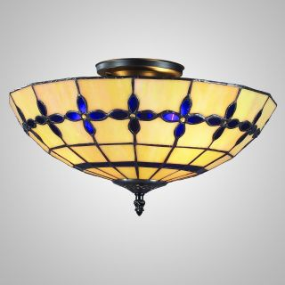Z Lite Z15 3 10 BLUE Carson Tiffany Blue Flush Mount Light   Tiffany Ceiling Lighting