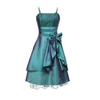 Zicac Vara Bow Satin Cocktail Evening Party Prom wedding Gown Formal Flower Girl Dress Green Wine Red Black (EUR MUS4 8, Green)