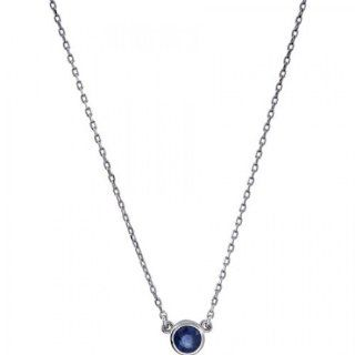 Sapphire Necklace in Sterling Silver   Spring Ring   Round Shape   Riveting Chain Necklaces Jewelry