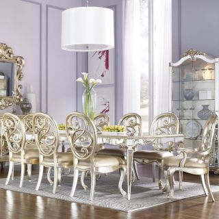 American Drew Jessica McClintock Couture 9 piece Silver Leaf Mirror Dining Table Set   Dining Table Sets