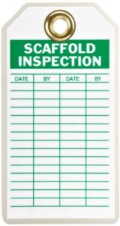 "Brady 86439 3"" Width x 5 3/4"" Height, B 837 Heavy Duty Polyester, Green on White Scaffold Inspection Tag, Header ""Scaffold Inspection"", Pack of 10 Industrial Warning Signs"