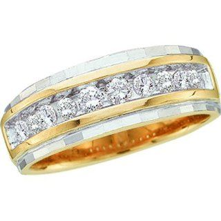 0.25 Carat (ctw) 10K Yellow Gold Round White Diamond Mens Fashion Wedding Band 1/4 CT Jewelry