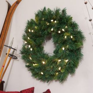 24 Inch LED Battery Operated Tiffany Prelit Wreath with Timer   Warm White Lights   Christmas Wreaths